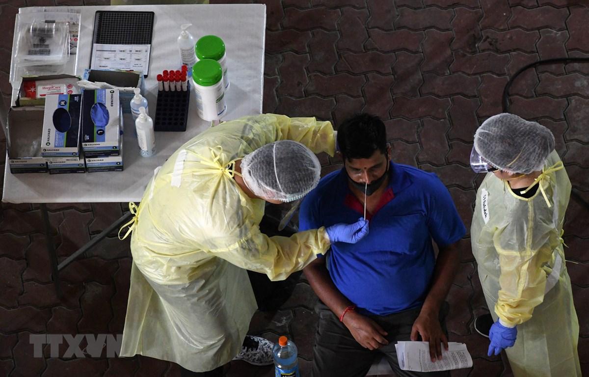 Nhân viên y tế lấy mẫu dịch xét nghiệm COVID-19 cho người lao động tại Singapore, ngày 10/6/2020. (Ảnh: AFP/TTXVN)