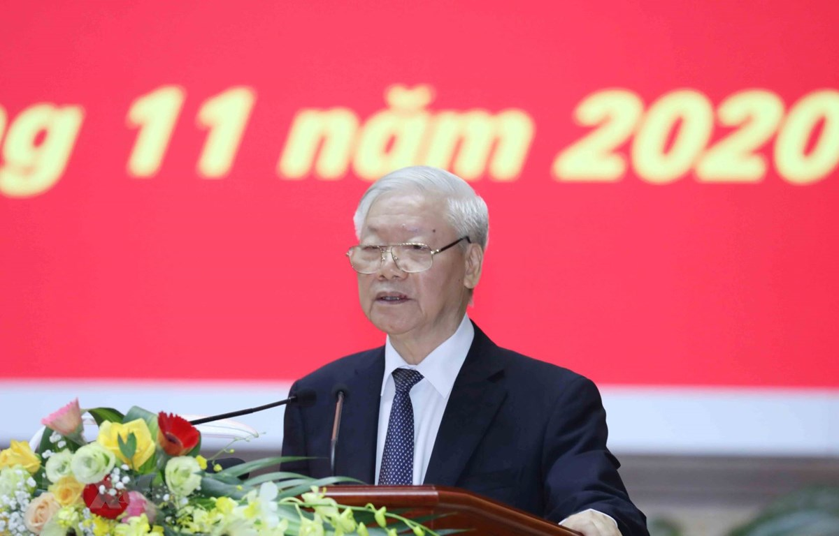 Tổng Bí thư, Chủ tịch nước Nguyễn Phú Trọng dự và phát biểu chỉ đạo Hội nghị. (Ảnh: Phương Hoa/TTXVN)
