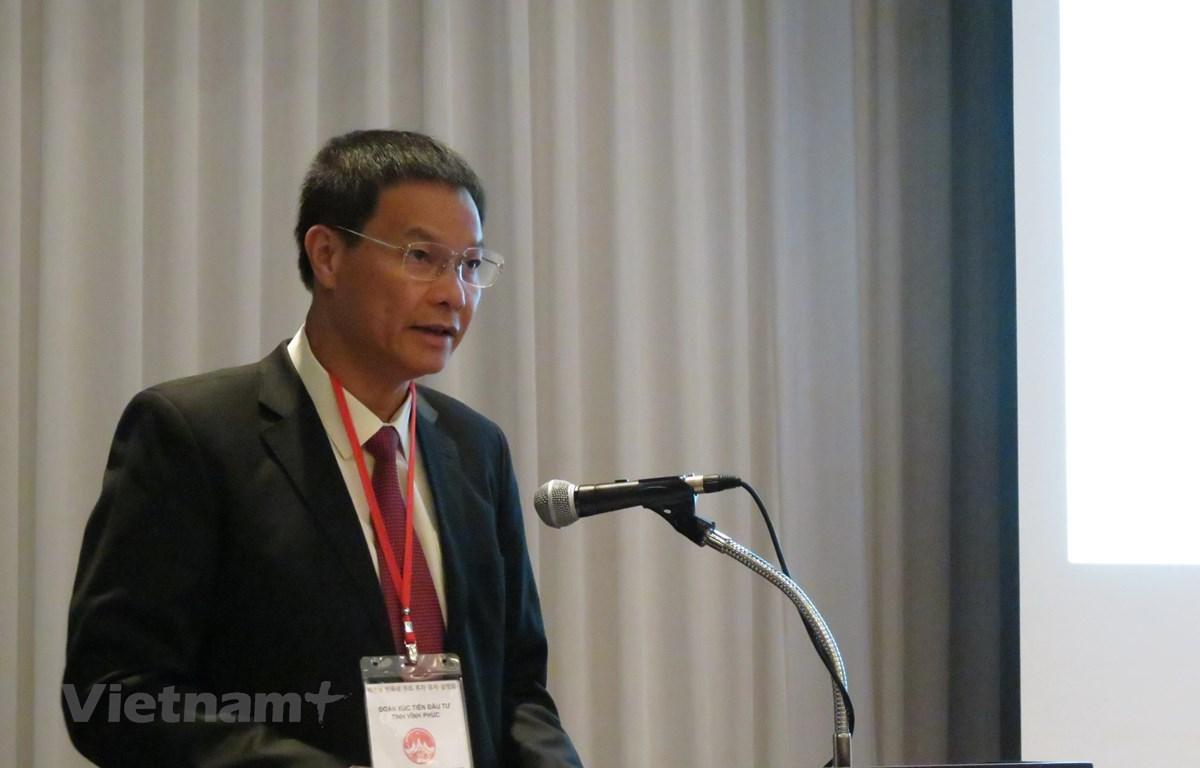 Phó Bí thư thường trực tỉnh kiêm Chủ tịch Hội đồng Nhân dân tỉnh Trần Văn Vinh phát biểu tại Hội thảo. (Ảnh: Mạnh Hùng/Vietnam+)