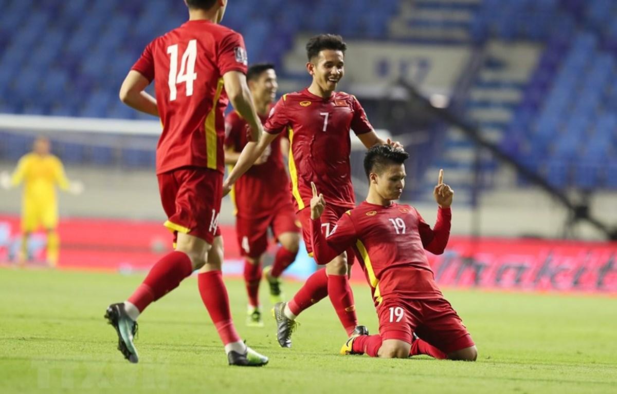 Đội tuyển Việt Nam nhiều khả năng giành vé đi tiếp tại vòng loại World Cup 2022. (Ảnh: TTXVN)