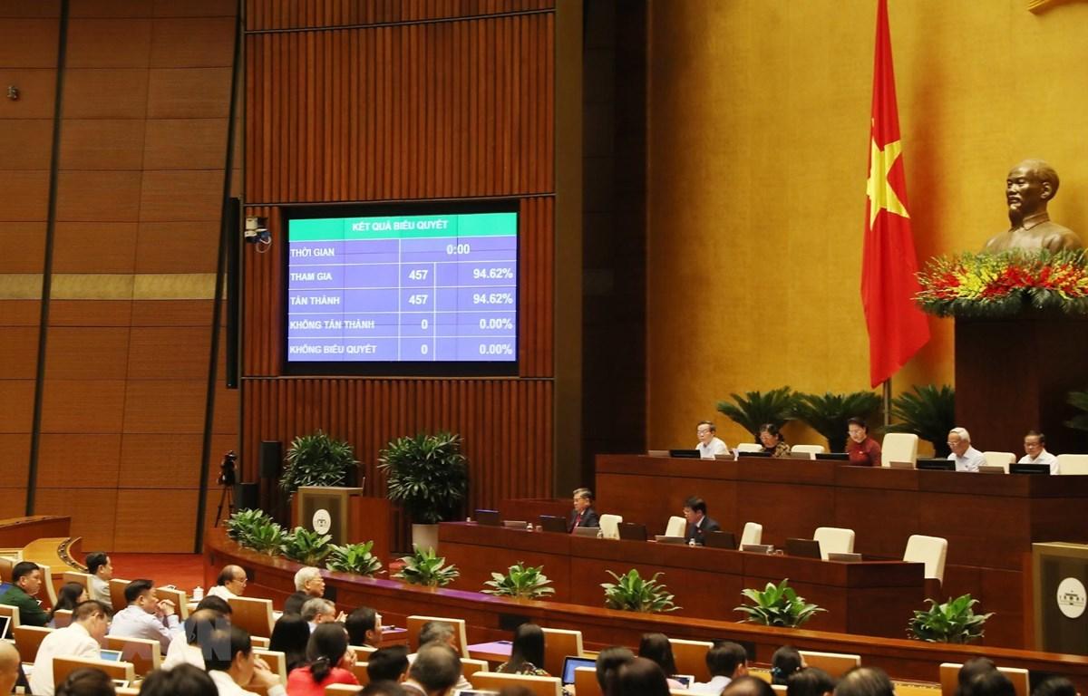 Quốc hội thông qua với tỷ lệ 94,62%. (Ảnh: Trọng Đức/TTXVN)