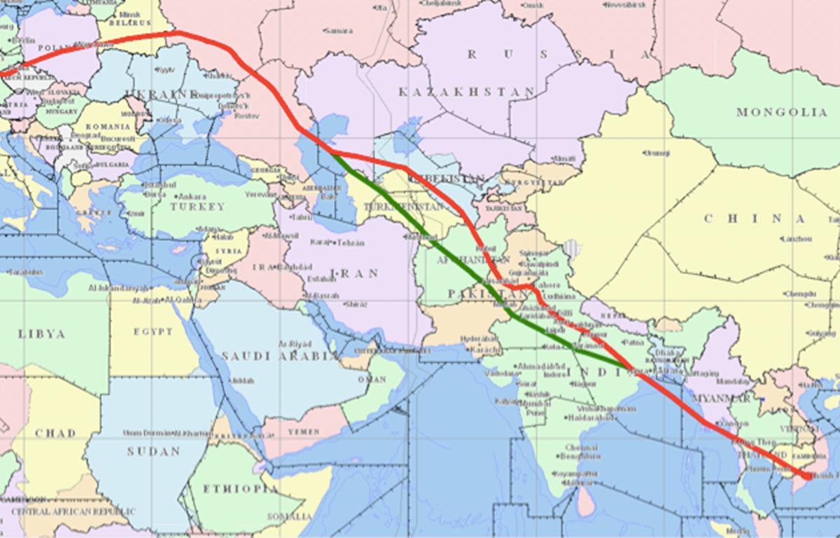 Đường bay châu Âu-Việt Nam (Đường xanh: đường bay thường lệ; Đường đỏ: đường bay được điều chỉnh). (Nguồn ảnh: Vietnam Airlines).