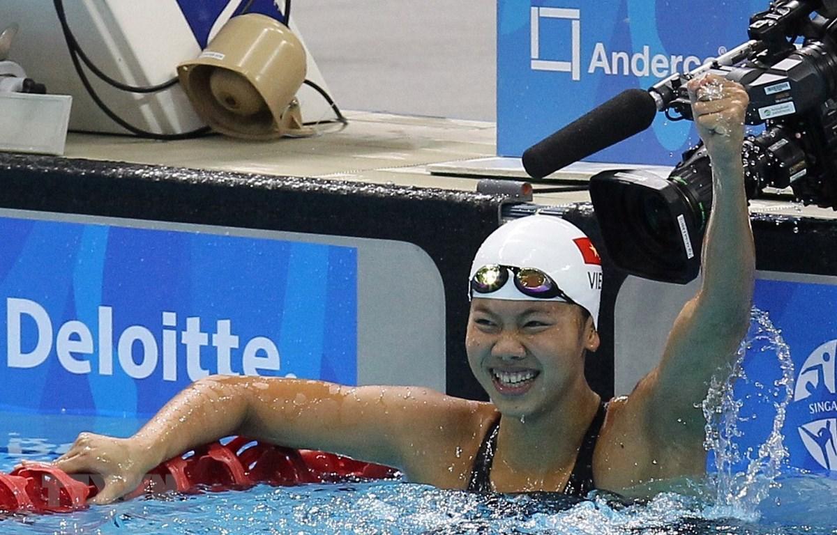 Vận động viên Ánh Viên giành vé dự Olympic Tokyo 2020. (Ảnh: TTXVN)