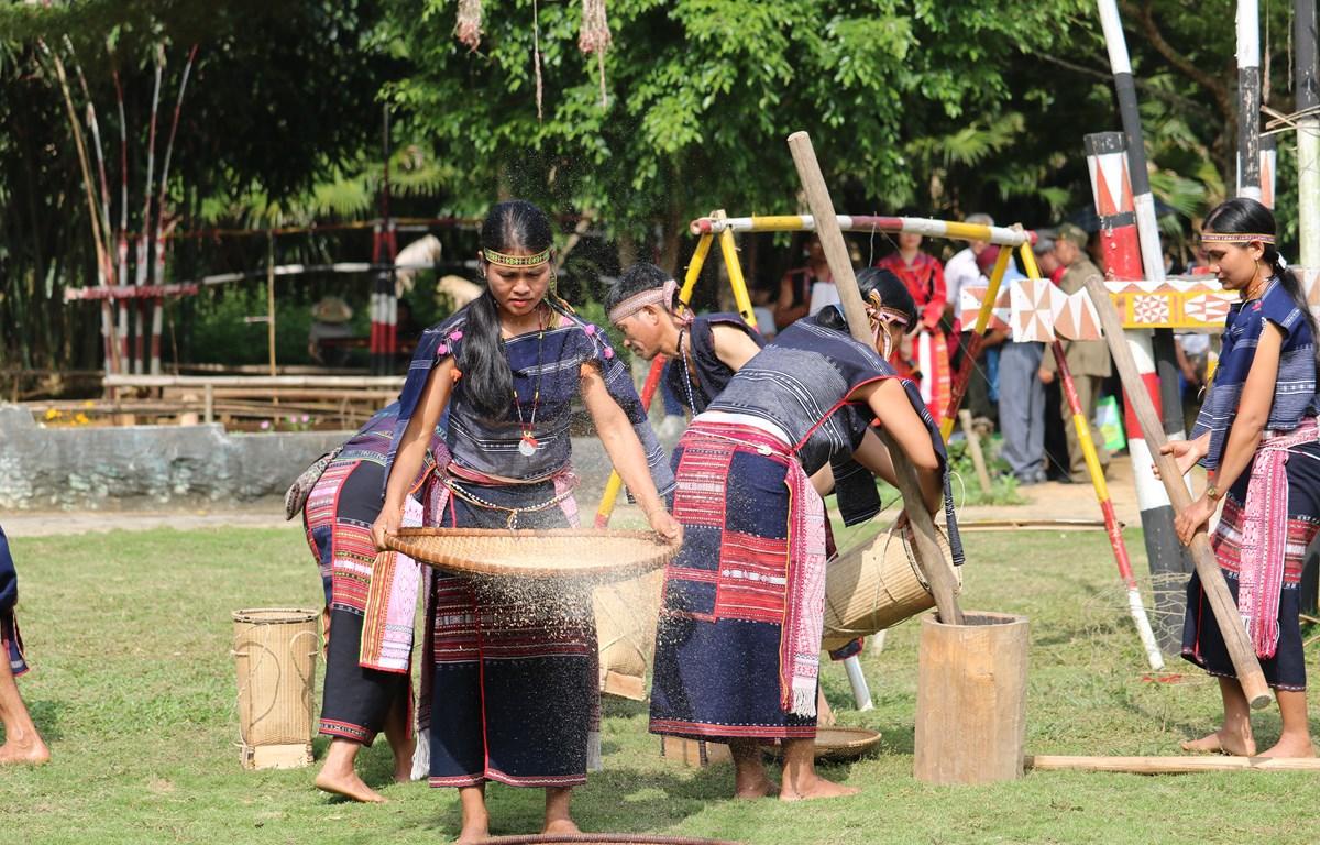 Cô gái Bana sàng gạo trong lễ mừng lúa mới của người Bana. (Ảnh: Vũ Văn Mừng)