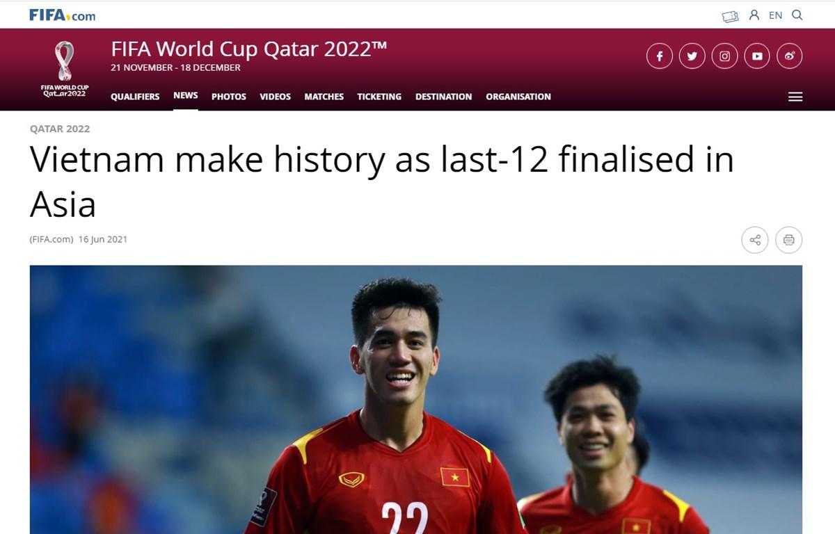 Bài viết trên trang chủ của FIFA. (Ảnh: Chụp màn hình)