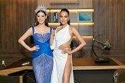 [Photo] Hoa hậu Khánh Vân đọ dáng với người đẹp biển Lê Hoàng Phương
