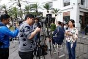 Hình ảnh báo giới tác nghiệp tại cuộc gặp thượng đỉnh Mỹ-Triều