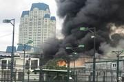 Cháy lớn ở gara ôtô gần trụ sở của Liên đoàn Bóng đá Việt Nam