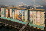 Các container biến thành bức tranh ngoài trời lớn nhất thế giới