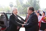 Hình ảnh lễ đón và hội đàm giữa lãnh đạo hai nước Việt Nam-Lào