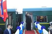 Hình ảnh lễ tiễn Chủ tịch Triều Tiên Kim Jong-un tại ga Đồng Đăng