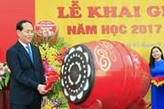 Chủ tịch nước Trần Đại Quang dự khai giảng tại THCS Trưng Vương