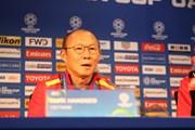 Hình ảnh buổi họp báo của tuyển Việt Nam và Jordan trước vòng 1/8