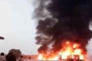 Xe buýt bốc cháy sau khi đâm vào xe tải, ít nhất 24 người thiệt mạng