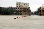 [Photo] Nước lũ trên sông Hương tràn qua đập đá ở thành phố Huế