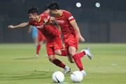 Hình ảnh đội tuyển Việt Nam chuẩn bị cho trận đấu với Indonesia