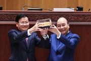 Hình ảnh Chủ tịch nước dự Lễ bàn giao Tòa Nhà Quốc hội mới cho Lào