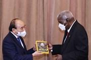 [Photo] Chủ tịch nước Nguyễn Xuân Phúc hội kiến Chủ tịch Quốc hội Cuba