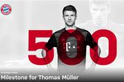 Thomas Mueller cán mốc 500 trận đấu trong màu áo Bayern Munich