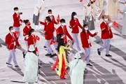 Hình ảnh Đoàn thể thao Việt Nam diễu hành ở lễ khai mạc Olympic Tokyo