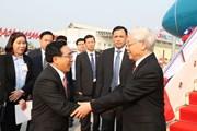 Hình ảnh Tổng Bí thư, Chủ tịch nước Nguyễn Phú Trọng đến Vientiane