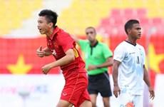 """Cận cảnh Văn Hậu """"nã đại bác"""" làm tung lưới U22 Timor Leste"""