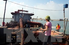 Nam Định: Ngang nhiên khai thác cát trái phép trên sông Hồng