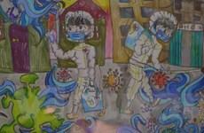 Mạng xã hội 'phát sốt' với bức tranh vẽ chống COVID của bé gái 10 tuổi