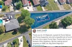 Cựu chiến binh biến bãi cỏ thành banner khổng lồ ủng hộ ông Trump