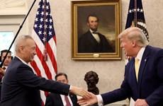 Hình ảnh lễ ký thoả thuận thương mại Mỹ-Trung giai đoạn một