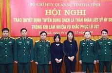 Tuyển dụng vợ của hai liệt sỹ Đoàn 337 làm quân nhân chuyên nghiệp