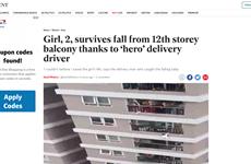 """""""Người hùng"""" cứu bé gái rơi từ tầng 12A gây sốt trên báo nước ngoài"""