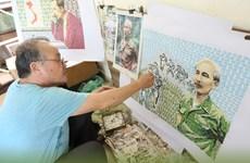Họa sỹ Đỗ Lệnh Tuấn - người thổi hồn các bức tranh ghép tem về Bác Hồ