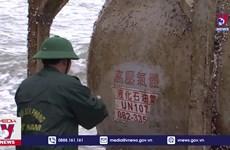 Phát hiện vật thể lạ có chữ nước ngoài trôi dạt vào bờ biển Quảng Ngãi