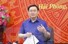 Chủ tịch Quốc hội Vương Đình Huệ làm việc với Thành ủy Hải Phòng