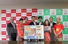 """Fukushima phát hành tem kỷ niệm """"thành phố chủ nhà"""" của đoàn Việt Nam"""