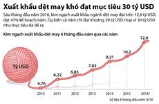 [Infographics] Xuất khẩu dệt may khó đạt mục tiêu 30 tỷ USD