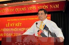 Ban Tổ chức TW ký kết hợp tác với Ban Thường vụ Thành ủy TP.HCM