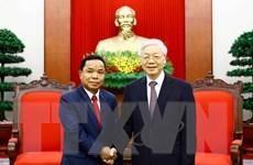 Tổng Bí thư tiếp đoàn Văn phòng TW Đảng Nhân dân Cách mạng Lào