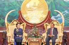 Chủ tịch Quốc hội chào xã giao Tổng Bí thư, Chủ tịch nước Lào