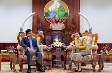 Chủ tịch Quốc hội Lào Pany Yathotou tiếp đoàn Bộ Tư pháp Việt Nam
