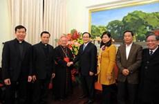 Tổng giám mục Tổng Giáo phận Hà Nội chúc Tết Thành ủy Hà Nội