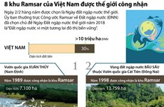 [Infographics] Tám khu Ramsar của Việt Nam được thế giới công nhận