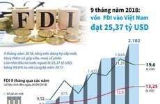 [Infographics] Vốn FDI vào Việt Nam đạt 25,37 tỷ USD trong 9 tháng