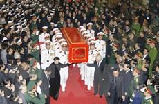 Hình ảnh đưa linh cữu Chủ tịch nước Trần Đại Quang ra xe tang