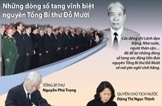 [Infographics] Những dòng sổ tang vĩnh biệt nguyên Tổng Bí thư Đỗ Mười