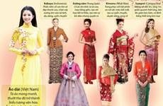 [Infographics] Trang phục truyền thống ngày Tết của phụ nữ châu Á