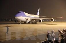 Hình ảnh chuyên cơ của Tổng thống Mỹ Donald Trump ở sân bay Nội Bài