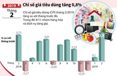 [Infographics] Chỉ số giá tiêu dùng tháng 2 tăng 0,8%