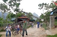 Lốc xoáy làm tốc mái nhiều nhà dân ở Nghệ An, 3 cột điện đổ sập
